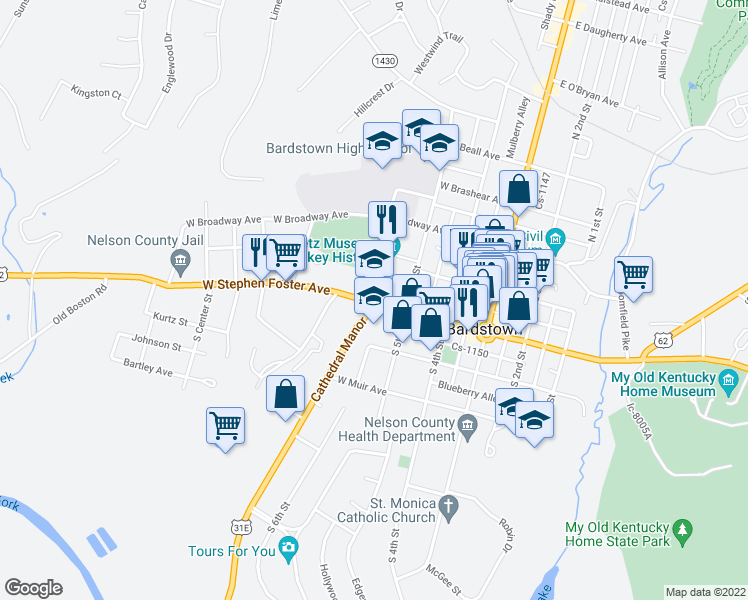 map of restaurants, bars, coffee shops, grocery stores, and more near 320 West Stephen Foster Avenue in Bardstown