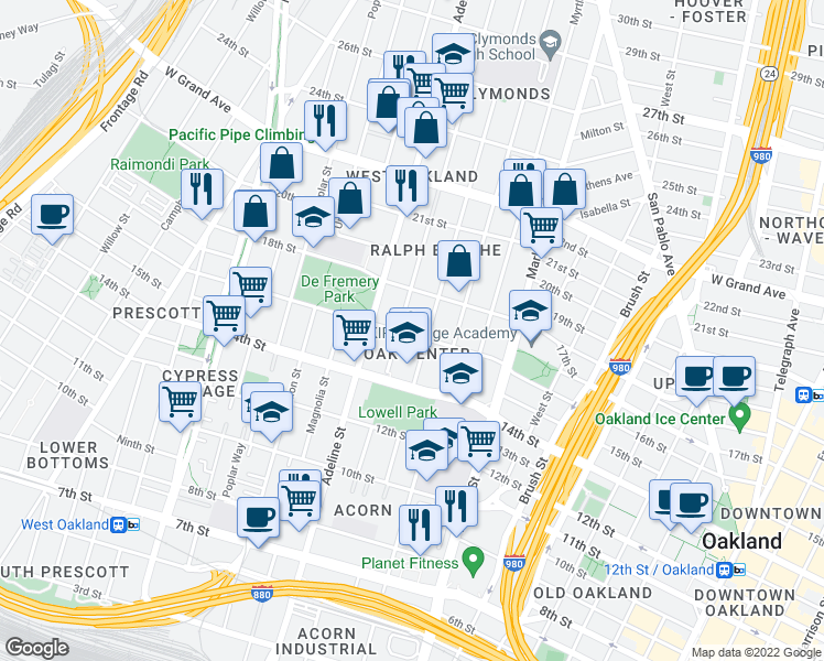 map of restaurants, bars, coffee shops, grocery stores, and more near 1078 16th Street in Oakland