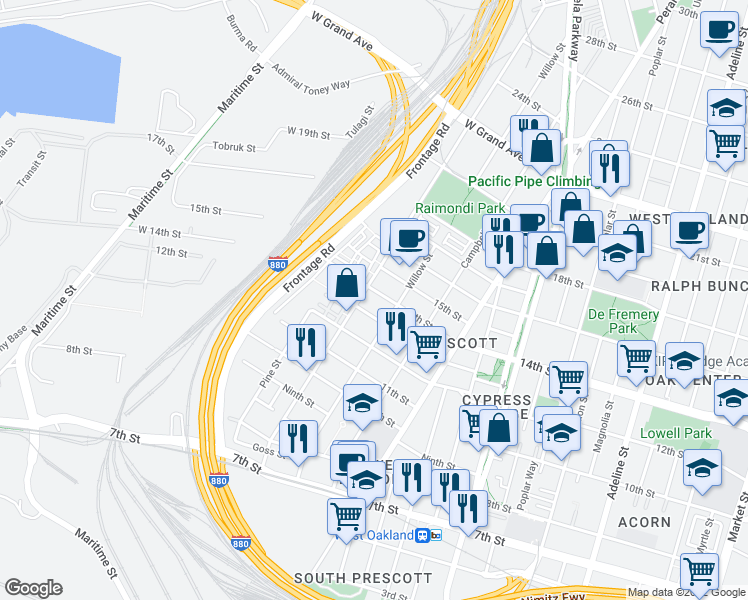 map of restaurants, bars, coffee shops, grocery stores, and more near 1737 14th St in Oakland