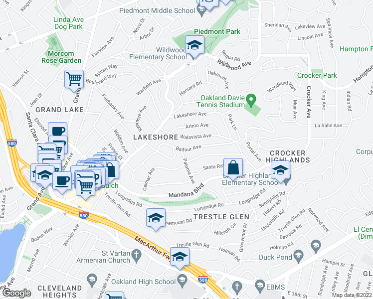 map of restaurants, bars, coffee shops, grocery stores, and more near Balfour Ave in Oakland