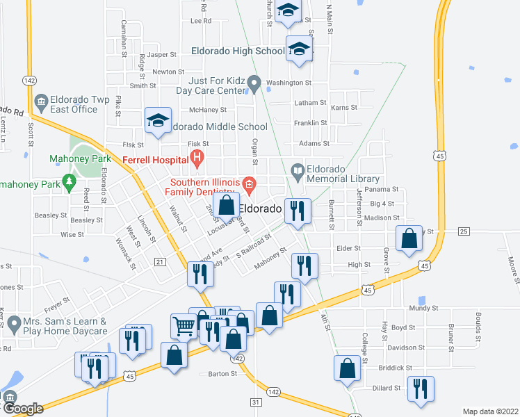 map of restaurants, bars, coffee shops, grocery stores, and more near 550 U.S. 45 in Eldorado