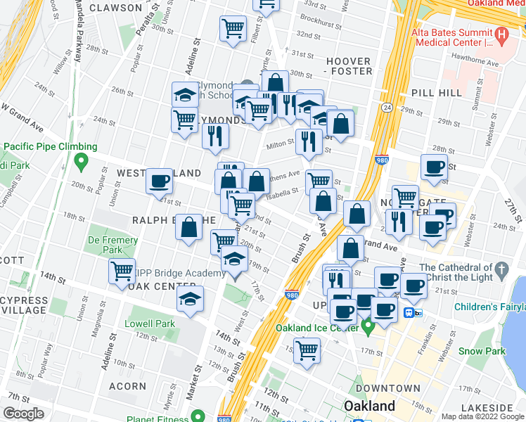 map of restaurants, bars, coffee shops, grocery stores, and more near 865 West Grand Avenue in Oakland