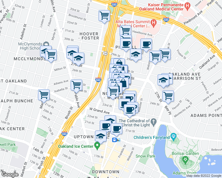map of restaurants, bars, coffee shops, grocery stores, and more near 542 25th Street in Oakland
