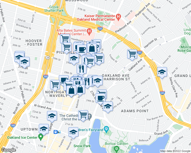 map of restaurants, bars, coffee shops, grocery stores, and more near 280 28th Street in Oakland