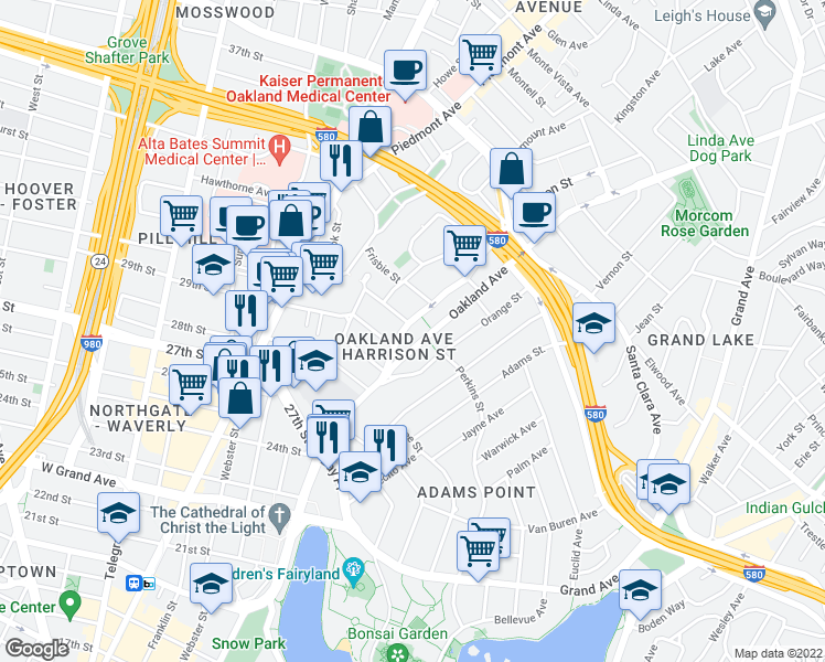 map of restaurants, bars, coffee shops, grocery stores, and more near 2940 Harrison Street in Oakland