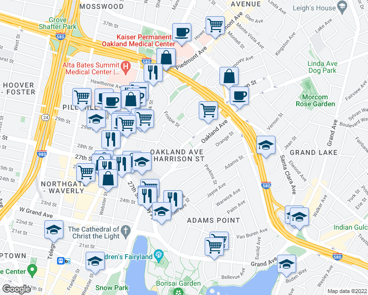 map of restaurants, bars, coffee shops, grocery stores, and more near 2940 Harrison St in Oakland