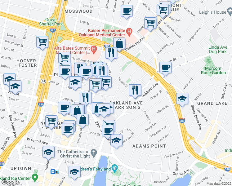 map of restaurants, bars, coffee shops, grocery stores, and more near 235 30th Street in Oakland