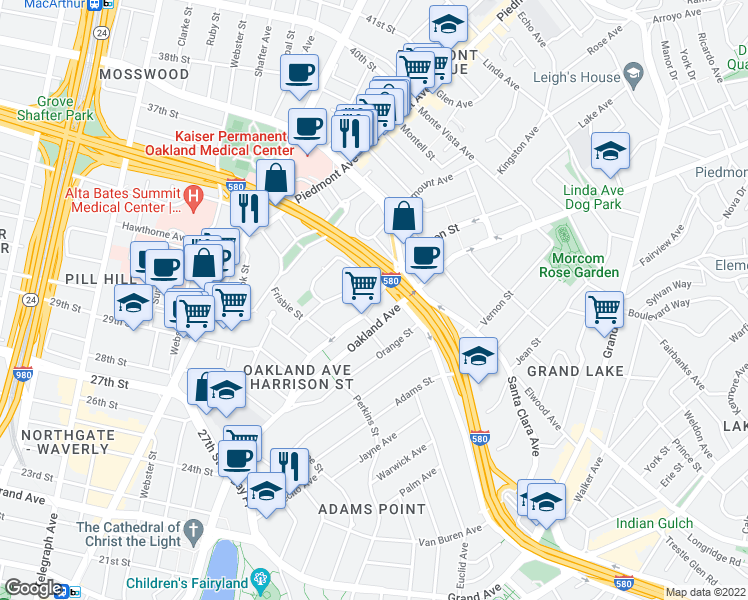 map of restaurants, bars, coffee shops, grocery stores, and more near 3330 Harrison Street in Oakland