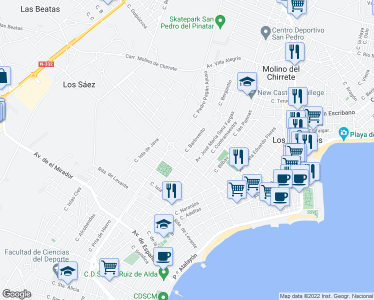 map of restaurants, bars, coffee shops, grocery stores, and more near 18 Calle Alcalde José M Tárraga in San Pedro del Pinatar