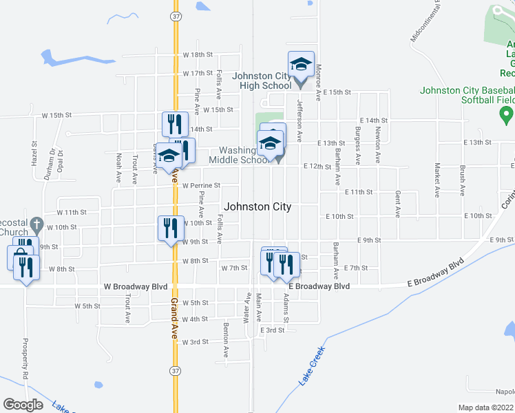 map of restaurants, bars, coffee shops, grocery stores, and more near in Johnston City