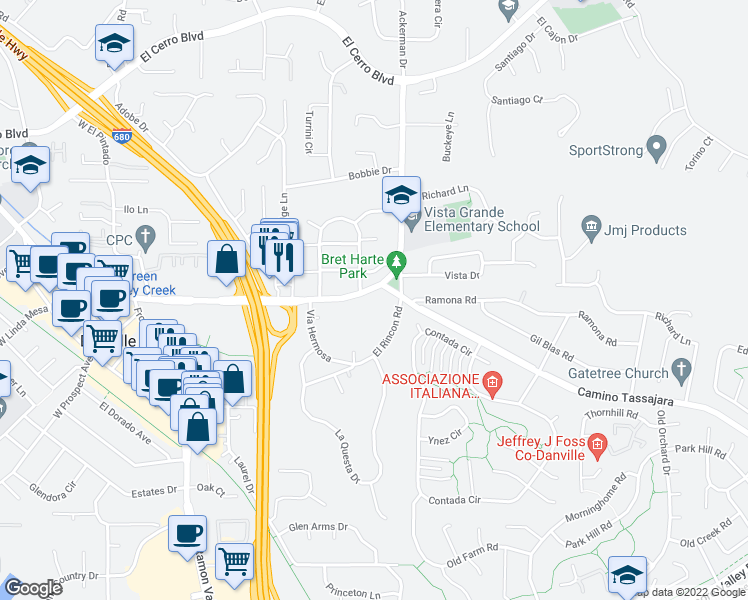map of restaurants, bars, coffee shops, grocery stores, and more near 607 Diablo Road in Danville