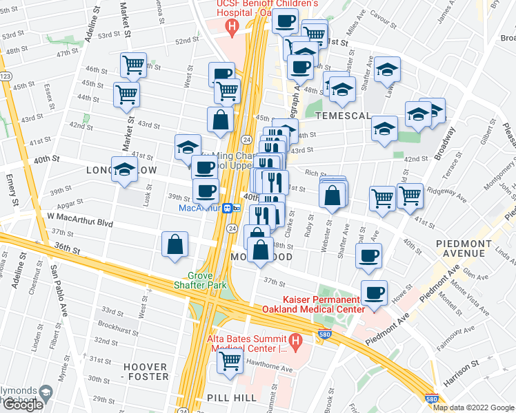 map of restaurants, bars, coffee shops, grocery stores, and more near 540 39th Street in Oakland