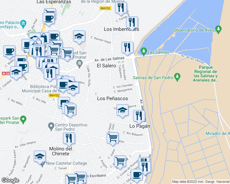 map of restaurants, bars, coffee shops, grocery stores, and more near 65 Avendia Generalisimo in San Pedro del Pinatar