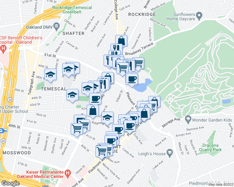 map of restaurants, bars, coffee shops, grocery stores, and more near 4421 Gilbert Street in Oakland