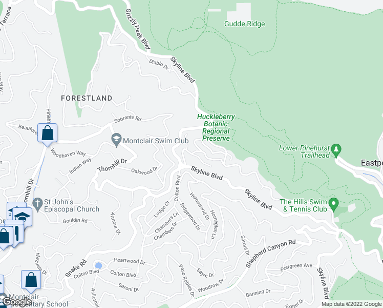 map of restaurants, bars, coffee shops, grocery stores, and more near Manzanita Drive & Northwood Court in Oakland