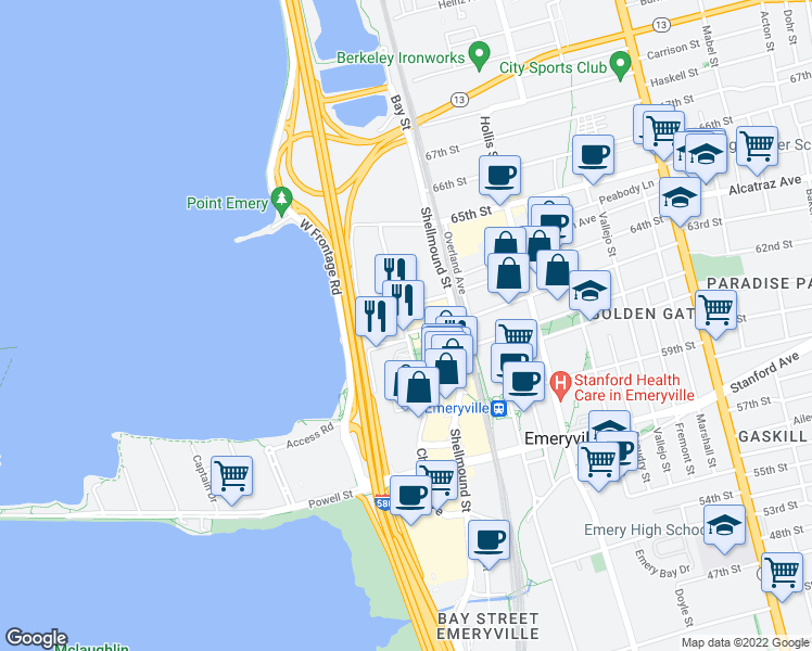 map of restaurants, bars, coffee shops, grocery stores, and more near 1609 64th Street in Emeryville