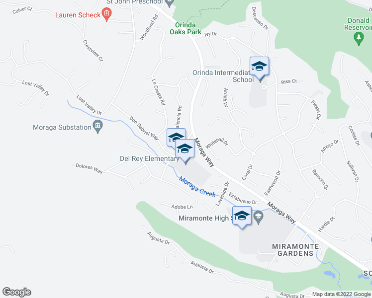 map of restaurants, bars, coffee shops, grocery stores, and more near 17 El Camino Moraga in Orinda