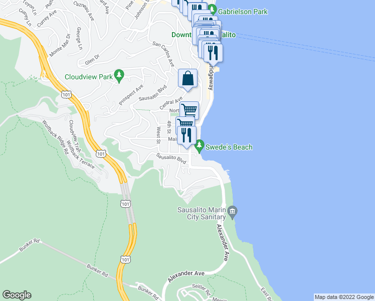 map of restaurants, bars, coffee shops, grocery stores, and more near 400-414 Pine Street in Sausalito