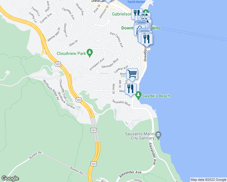 map of restaurants, bars, coffee shops, grocery stores, and more near in Sausalito