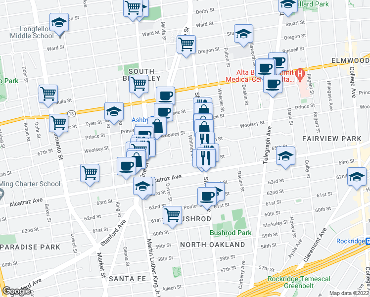 map of restaurants, bars, coffee shops, grocery stores, and more near 6542 Tremont Street in Oakland