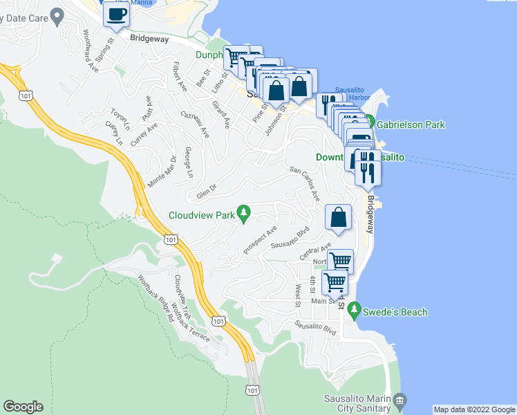 map of restaurants, bars, coffee shops, grocery stores, and more near 131 Spencer Avenue in Sausalito