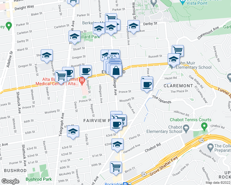 map of restaurants, bars, coffee shops, grocery stores, and more near College Ave & Prince St in Berkeley