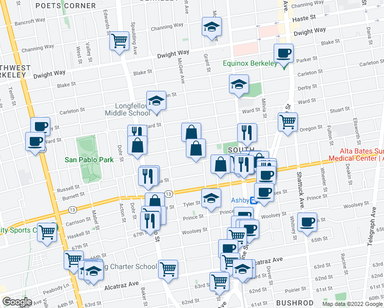map of restaurants, bars, coffee shops, grocery stores, and more near 2834 McGee Avenue in Berkeley