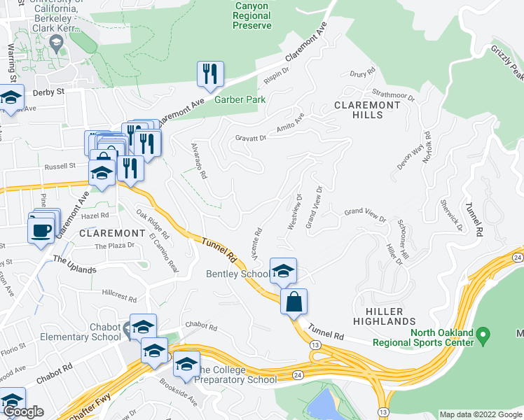 map of restaurants, bars, coffee shops, grocery stores, and more near 161 Vicente Road in Berkeley
