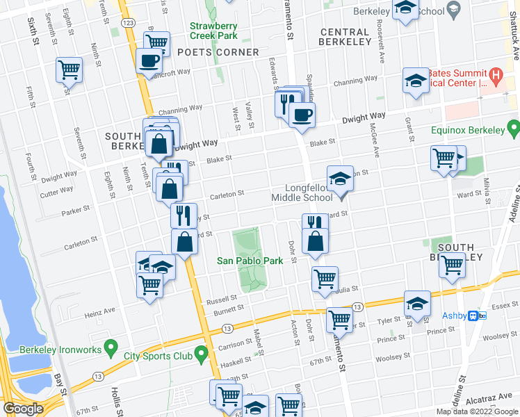 map of restaurants, bars, coffee shops, grocery stores, and more near 1330 Derby St in Berkeley