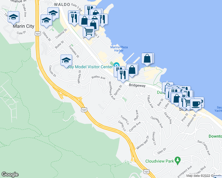map of restaurants, bars, coffee shops, grocery stores, and more near Woodward Avenue & Rodeo Avenue in Sausalito
