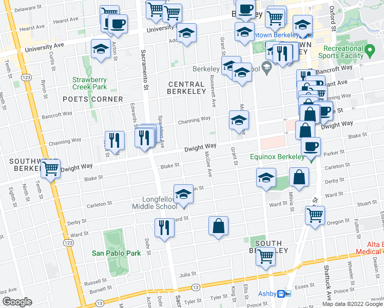 map of restaurants, bars, coffee shops, grocery stores, and more near 1626 Dwight Way in Berkeley