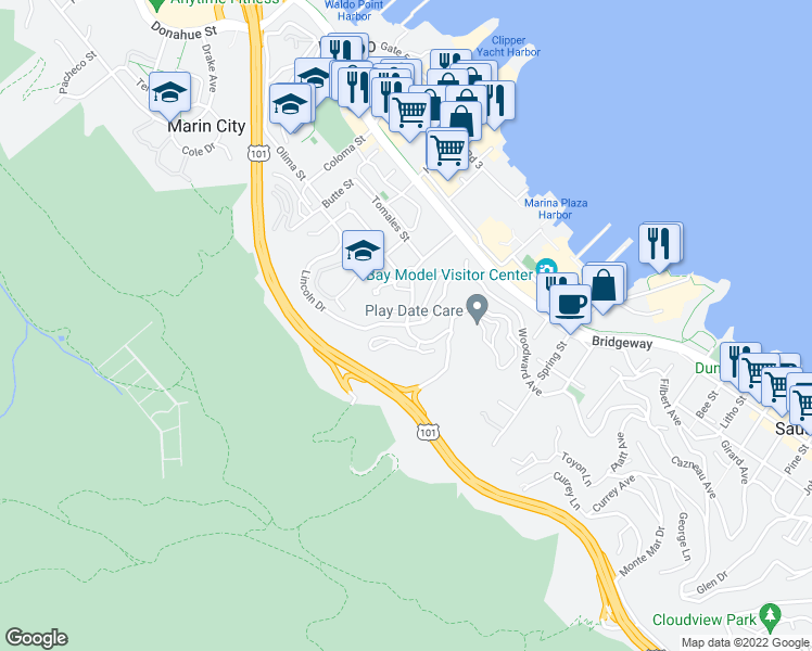 map of restaurants, bars, coffee shops, grocery stores, and more near Nevada Street & Marin Avenue in Sausalito