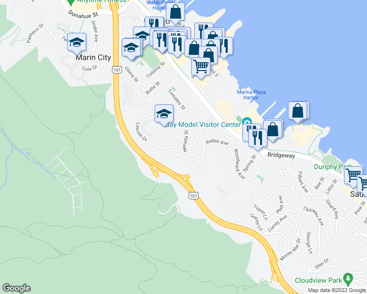 map of restaurants, bars, coffee shops, grocery stores, and more near Nevada St & Marin Ave in Sausalito
