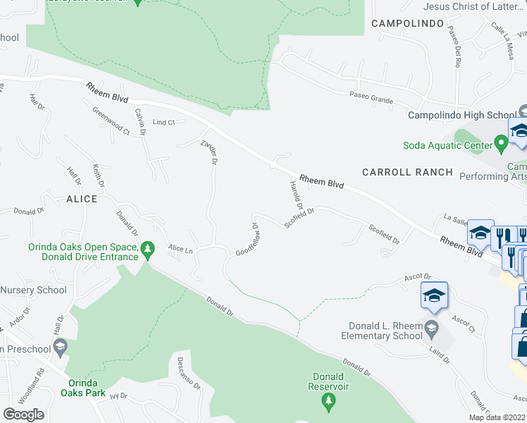 map of restaurants, bars, coffee shops, grocery stores, and more near 219 Scofield Drive in Moraga