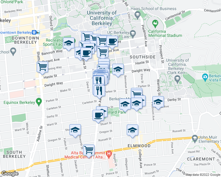 map of restaurants, bars, coffee shops, grocery stores, and more near 2607 Regent Street in Berkeley