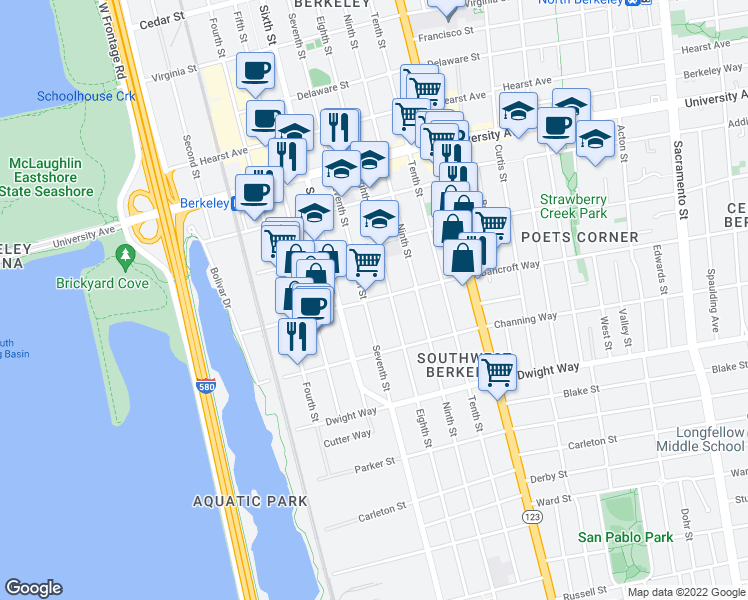 map of restaurants, bars, coffee shops, grocery stores, and more near 906 Bancroft Way in Berkeley