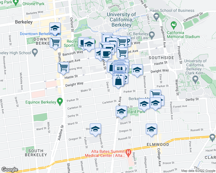 map of restaurants, bars, coffee shops, grocery stores, and more near Blake Street & Dana Street in Berkeley