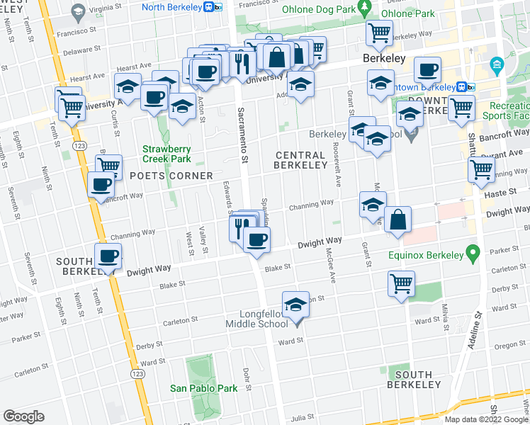 map of restaurants, bars, coffee shops, grocery stores, and more near Channing Way & Spaulding Avenue in Berkeley