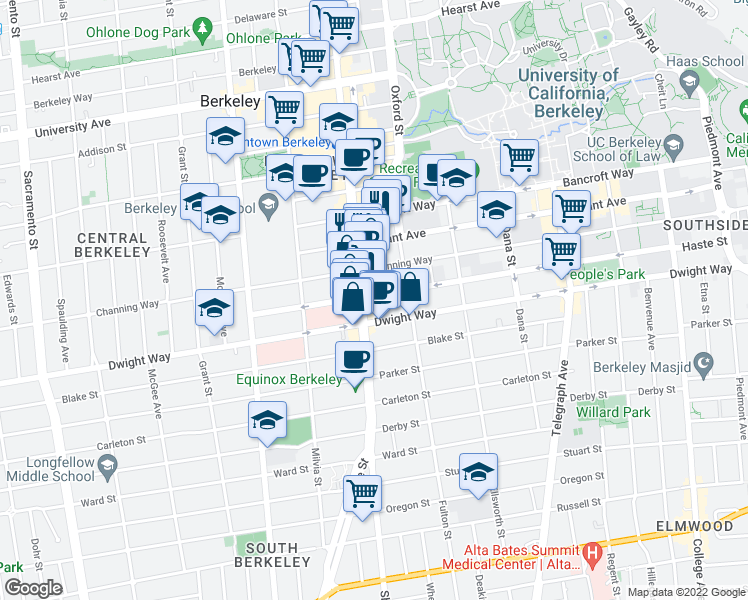 map of restaurants, bars, coffee shops, grocery stores, and more near 2110 Haste Street in Berkeley