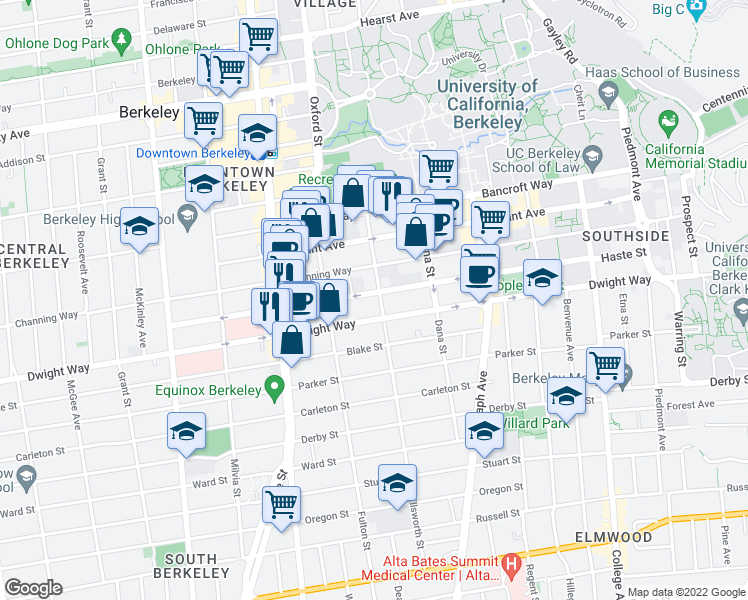 map of restaurants, bars, coffee shops, grocery stores, and more near 2428 Ellsworth Street in Berkeley
