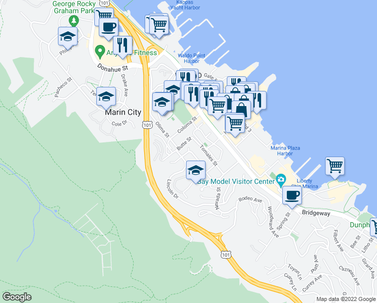 map of restaurants, bars, coffee shops, grocery stores, and more near 148 Buchanan Drive in Sausalito