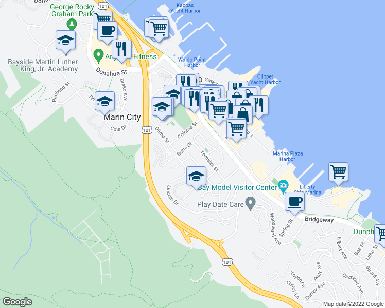 map of restaurants, bars, coffee shops, grocery stores, and more near 142 Buchanan Drive in Sausalito