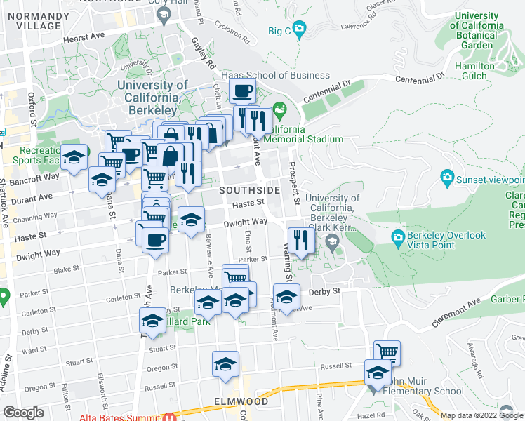 map of restaurants, bars, coffee shops, grocery stores, and more near 2498 Piedmont Avenue in Berkeley