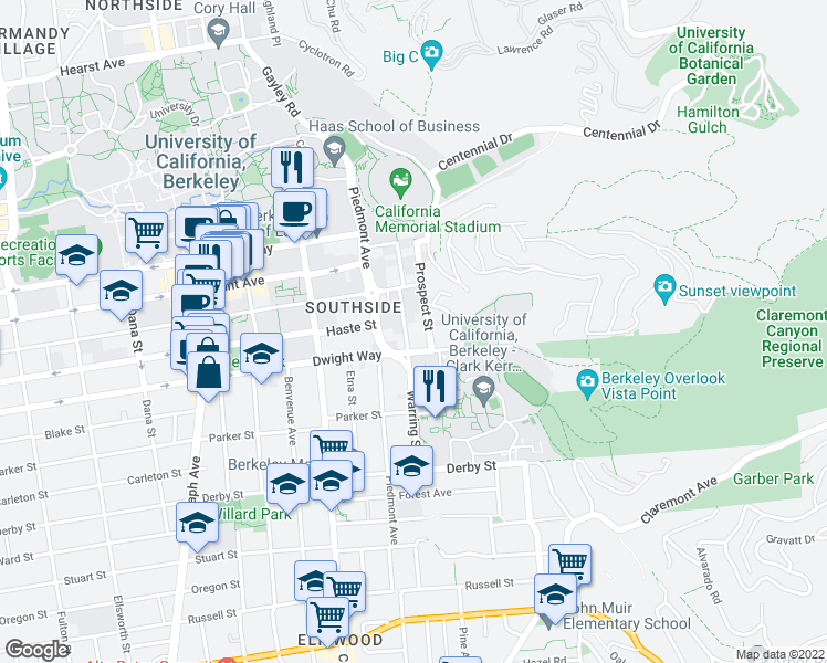 map of restaurants, bars, coffee shops, grocery stores, and more near 2437 Warring Street in Berkeley