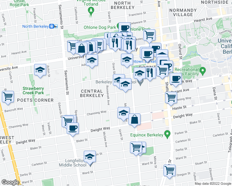 map of restaurants, bars, coffee shops, grocery stores, and more near Bancroft Way in Berkeley