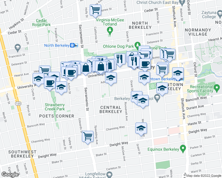 map of restaurants, bars, coffee shops, grocery stores, and more near 1604 Addison Street in Berkeley