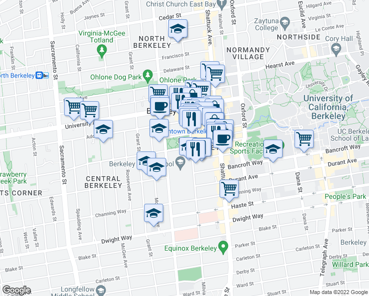 map of restaurants, bars, coffee shops, grocery stores, and more near in Berkeley