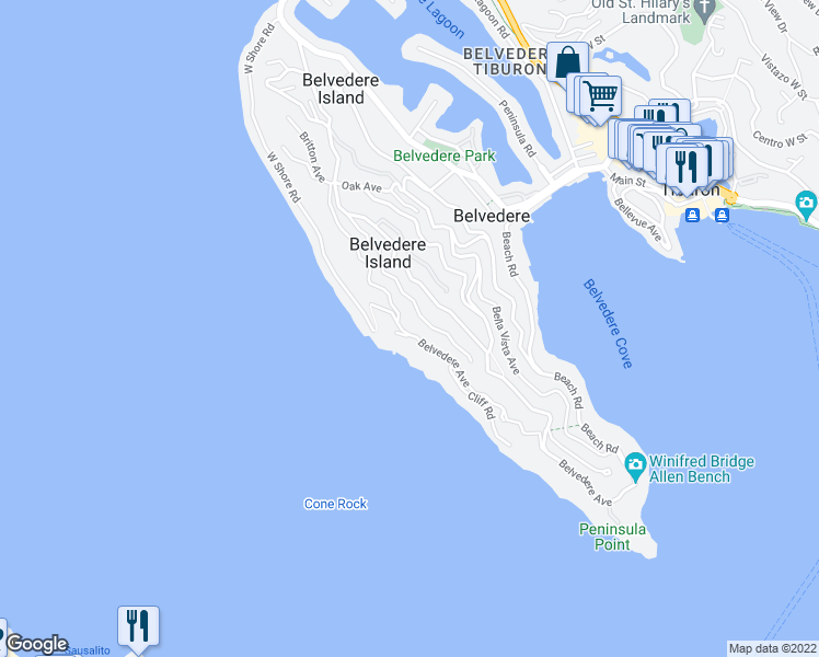 map of restaurants, bars, coffee shops, grocery stores, and more near 130 Belvedere Avenue in Belvedere Tiburon
