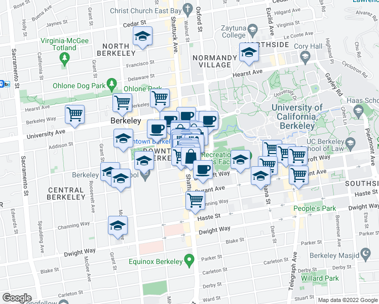 map of restaurants, bars, coffee shops, grocery stores, and more near 2201 Shattuck Avenue in Berkeley