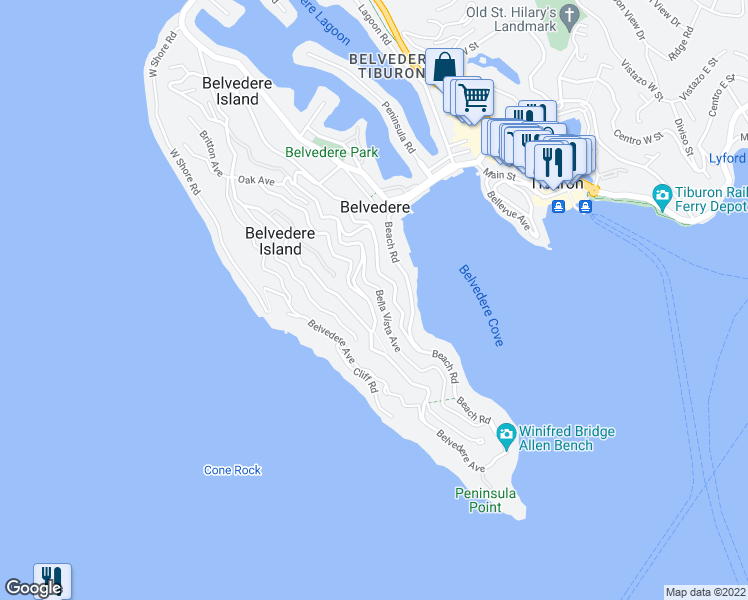 map of restaurants, bars, coffee shops, grocery stores, and more near 240 Madrona Avenue in Belvedere Tiburon